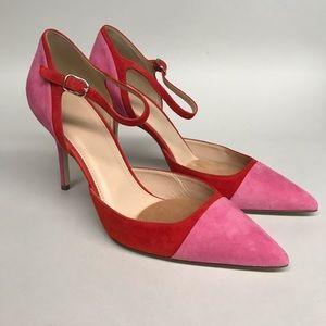 J. crew pink and red suede color block heels 8